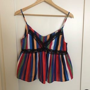 NWT Tea & Cup Multicolored Cropped Cami Tank Top